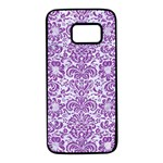 DAMASK2 WHITE MARBLE & PURPLE DENIM (R) Samsung Galaxy S7 Black Seamless Case Front