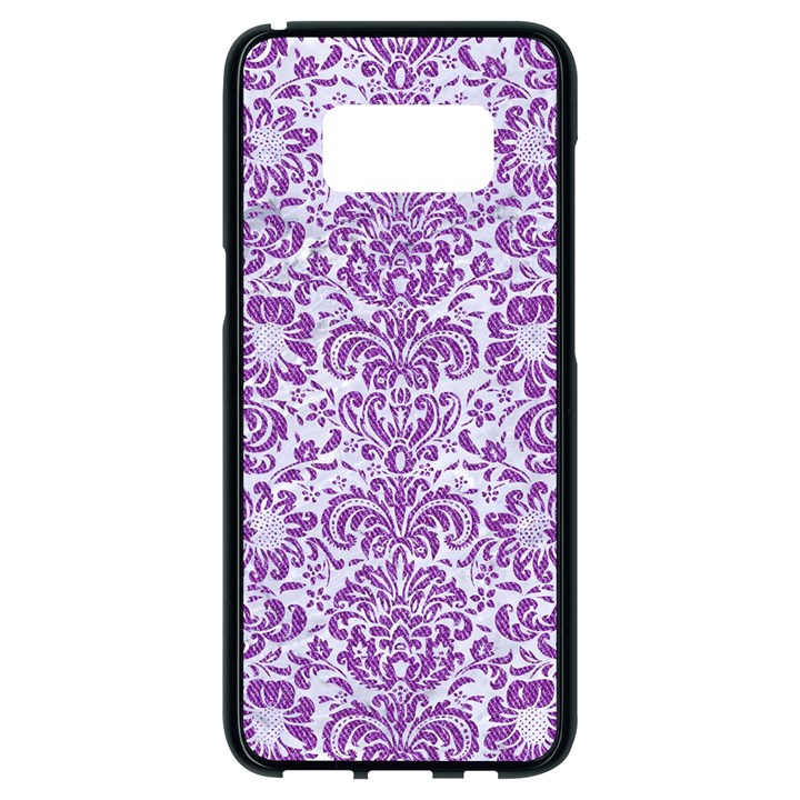 DAMASK2 WHITE MARBLE & PURPLE DENIM (R) Samsung Galaxy S8 Black Seamless Case