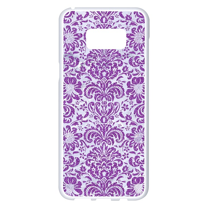 DAMASK2 WHITE MARBLE & PURPLE DENIM (R) Samsung Galaxy S8 Plus White Seamless Case
