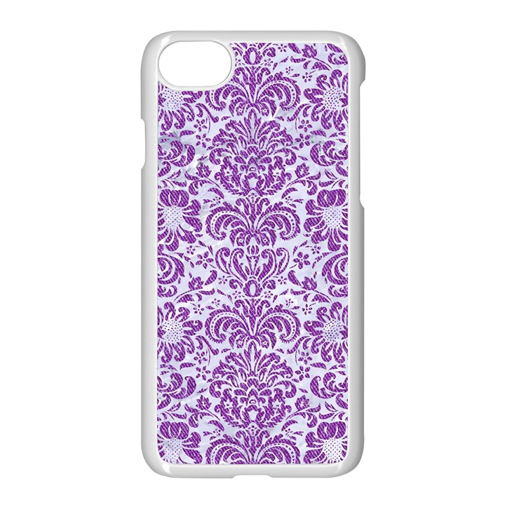DAMASK2 WHITE MARBLE & PURPLE DENIM (R) Apple iPhone 8 Seamless Case (White)