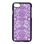 DAMASK2 WHITE MARBLE & PURPLE DENIM (R) Apple iPhone 8 Seamless Case (Black) Front