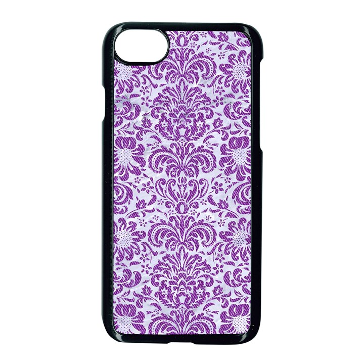 DAMASK2 WHITE MARBLE & PURPLE DENIM (R) Apple iPhone 8 Seamless Case (Black)