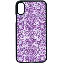 Damask2 White Marble & Purple Denim (r) Apple Iphone X Seamless Case (black)