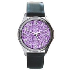 Damask2 White Marble & Purple Denim Round Metal Watch by trendistuff