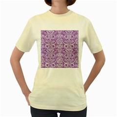 Damask2 White Marble & Purple Denim Women s Yellow T Shirt