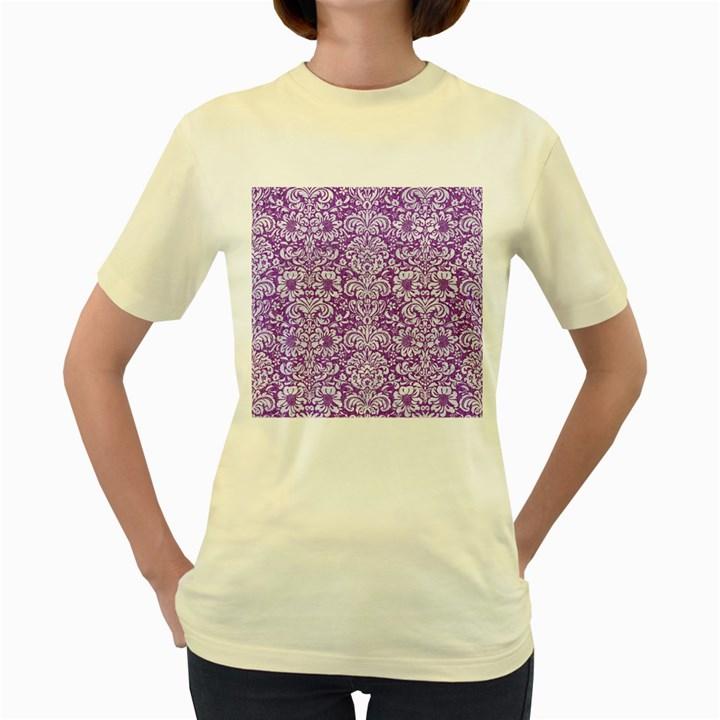 DAMASK2 WHITE MARBLE & PURPLE DENIM Women s Yellow T-Shirt