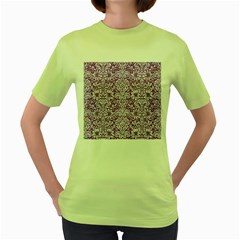 Damask2 White Marble & Purple Denim Women s Green T Shirt