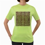 DAMASK2 WHITE MARBLE & PURPLE DENIM Women s Green T-Shirt Front