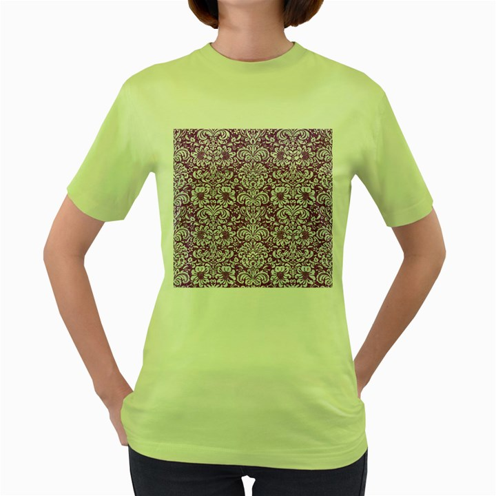 DAMASK2 WHITE MARBLE & PURPLE DENIM Women s Green T-Shirt