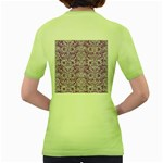 DAMASK2 WHITE MARBLE & PURPLE DENIM Women s Green T-Shirt Back