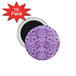 DAMASK2 WHITE MARBLE & PURPLE DENIM 1.75  Magnets (10 pack)  Front