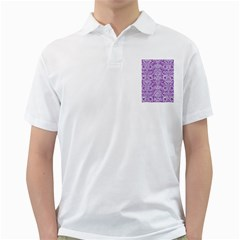 Damask2 White Marble & Purple Denim Golf Shirts