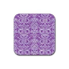 DAMASK2 WHITE MARBLE & PURPLE DENIM Rubber Square Coaster (4 pack)