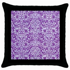Damask2 White Marble & Purple Denim Throw Pillow Case (black) by trendistuff