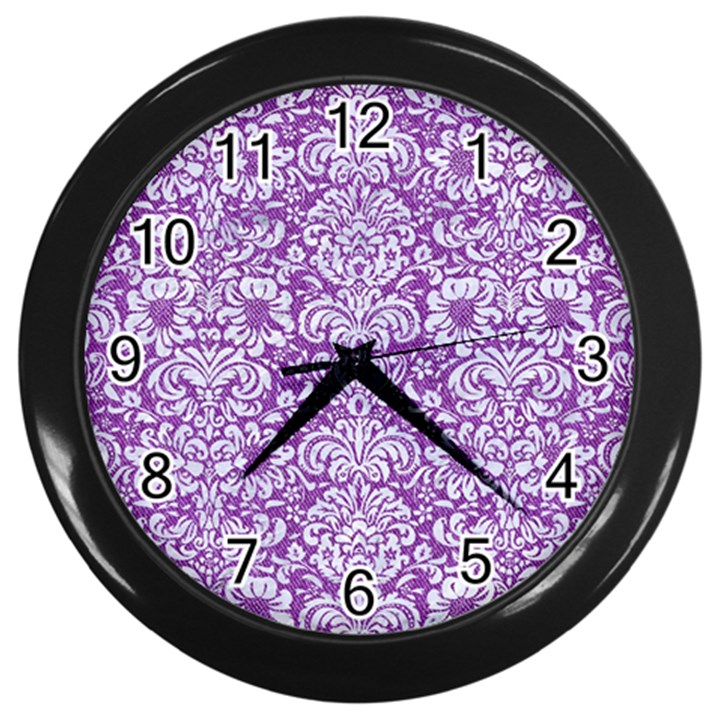 DAMASK2 WHITE MARBLE & PURPLE DENIM Wall Clocks (Black)
