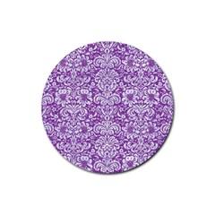 Damask2 White Marble & Purple Denim Rubber Round Coaster (4 Pack)