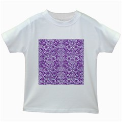Damask2 White Marble & Purple Denim Kids White T Shirts