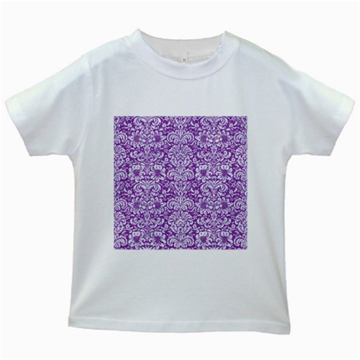 DAMASK2 WHITE MARBLE & PURPLE DENIM Kids White T-Shirts