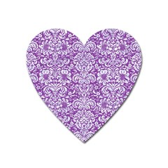 Damask2 White Marble & Purple Denim Heart Magnet
