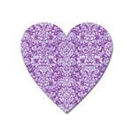 DAMASK2 WHITE MARBLE & PURPLE DENIM Heart Magnet Front