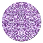 DAMASK2 WHITE MARBLE & PURPLE DENIM Magnet 5  (Round) Front