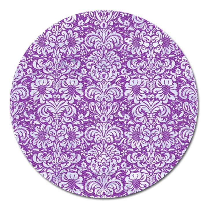 DAMASK2 WHITE MARBLE & PURPLE DENIM Magnet 5  (Round)