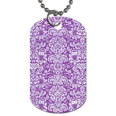 Damask2 White Marble & Purple Denim Dog Tag (two Sides) by trendistuff