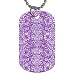 DAMASK2 WHITE MARBLE & PURPLE DENIM Dog Tag (Two Sides) Front