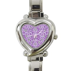 Damask2 White Marble & Purple Denim Heart Italian Charm Watch by trendistuff