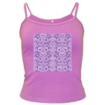 DAMASK2 WHITE MARBLE & PURPLE DENIM Dark Spaghetti Tank Front