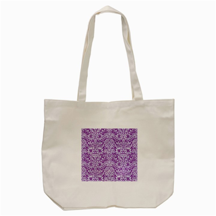 DAMASK2 WHITE MARBLE & PURPLE DENIM Tote Bag (Cream)