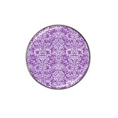 Damask2 White Marble & Purple Denim Hat Clip Ball Marker by trendistuff