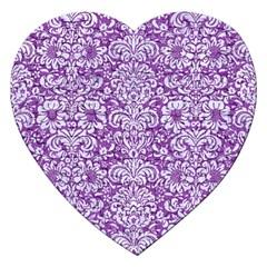DAMASK2 WHITE MARBLE & PURPLE DENIM Jigsaw Puzzle (Heart)