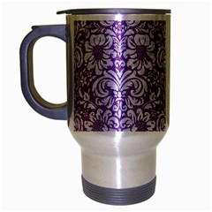 Damask2 White Marble & Purple Denim Travel Mug (silver Gray) by trendistuff