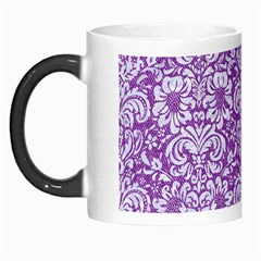Damask2 White Marble & Purple Denim Morph Mugs