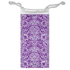 Damask2 White Marble & Purple Denim Jewelry Bag by trendistuff