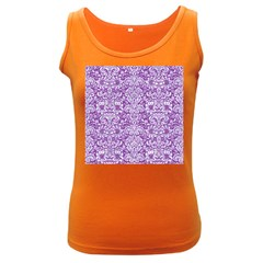 Damask2 White Marble & Purple Denim Women s Dark Tank Top