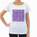 DAMASK2 WHITE MARBLE & PURPLE DENIM Women s Loose-Fit T-Shirt (White) Front