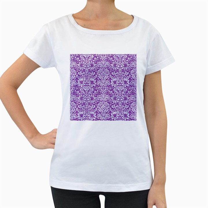 DAMASK2 WHITE MARBLE & PURPLE DENIM Women s Loose-Fit T-Shirt (White)