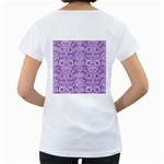 DAMASK2 WHITE MARBLE & PURPLE DENIM Women s Loose-Fit T-Shirt (White) Back