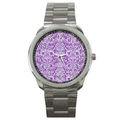 Damask2 White Marble & Purple Denim Sport Metal Watch by trendistuff