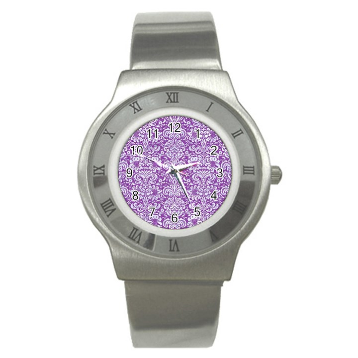 DAMASK2 WHITE MARBLE & PURPLE DENIM Stainless Steel Watch