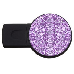 Damask2 White Marble & Purple Denim Usb Flash Drive Round (4 Gb)