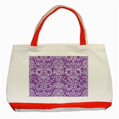 Damask2 White Marble & Purple Denim Classic Tote Bag (red)