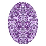 DAMASK2 WHITE MARBLE & PURPLE DENIM Oval Ornament (Two Sides) Back