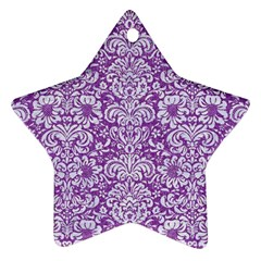 Damask2 White Marble & Purple Denim Star Ornament (two Sides)