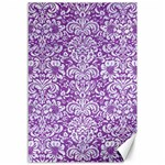 DAMASK2 WHITE MARBLE & PURPLE DENIM Canvas 12  x 18   18 x12 Canvas - 1