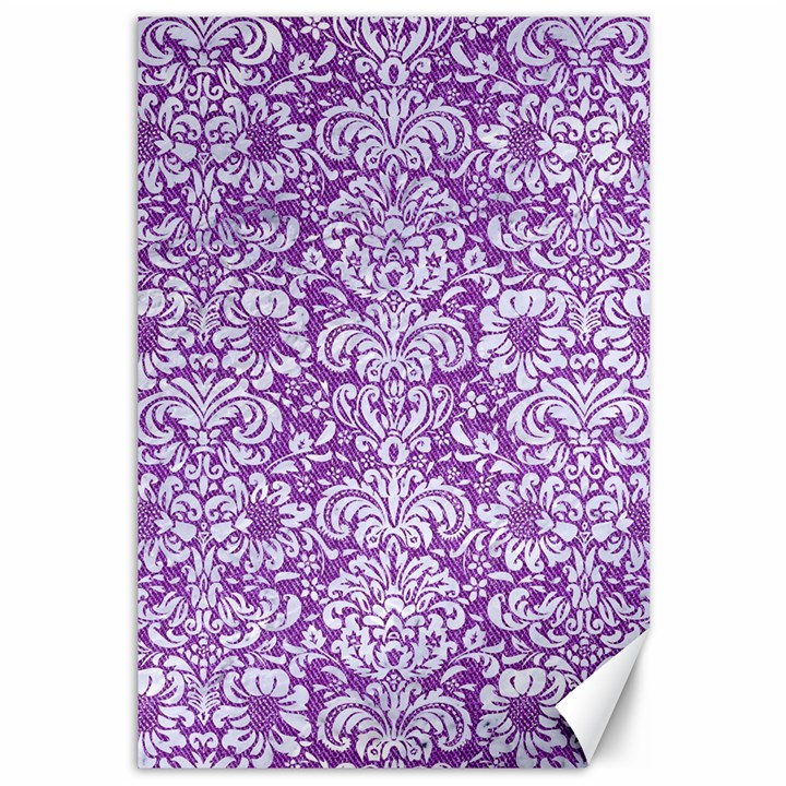 DAMASK2 WHITE MARBLE & PURPLE DENIM Canvas 12  x 18