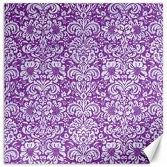 Damask2 White Marble & Purple Denim Canvas 16  X 16