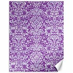 DAMASK2 WHITE MARBLE & PURPLE DENIM Canvas 18  x 24   24 x18 Canvas - 1